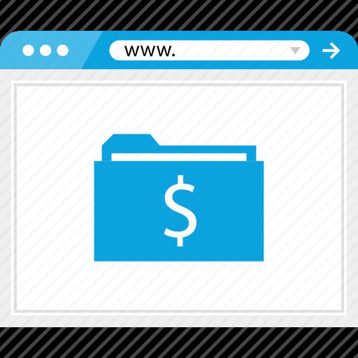 browser, dollar, folder, money, online, sign, www icon