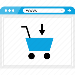 arrow, browser, cart, down, online, shop, shopping icon