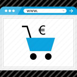 cart, euro, money, online, shop, shopping, sign icon