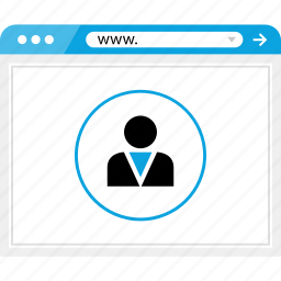 browser, business, friend, online, profile, user, web icon