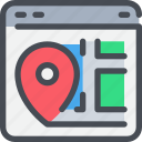 browser, gps, interface, location, map, website icon