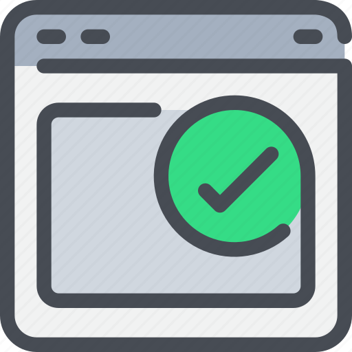 browser, check, interface, website icon
