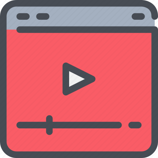 browser, interface, movie, video, website icon