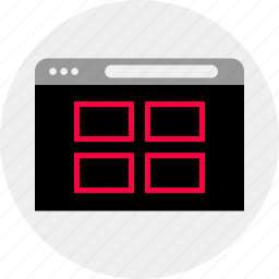 gallery, grid, mockup, online, quick, wireframe icon