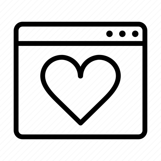 browser, heart, like, love, online, ui icon