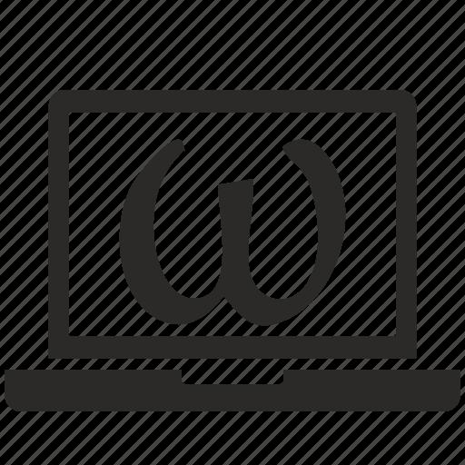alphabet, greek, letter, omega icon