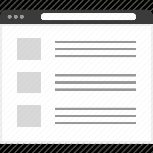 frame, layout, net, newsletter, website icon