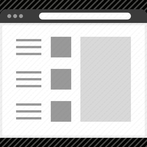 frame, layout, net, posts, three, website icon