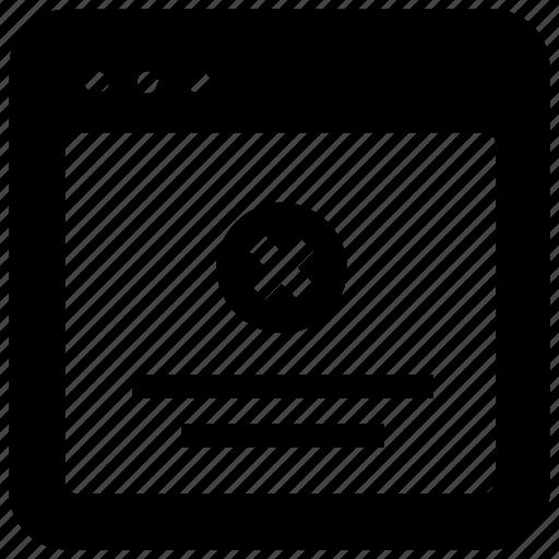 browser, delete, webpage, website icon