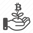 bitcoin, btc, hand icon