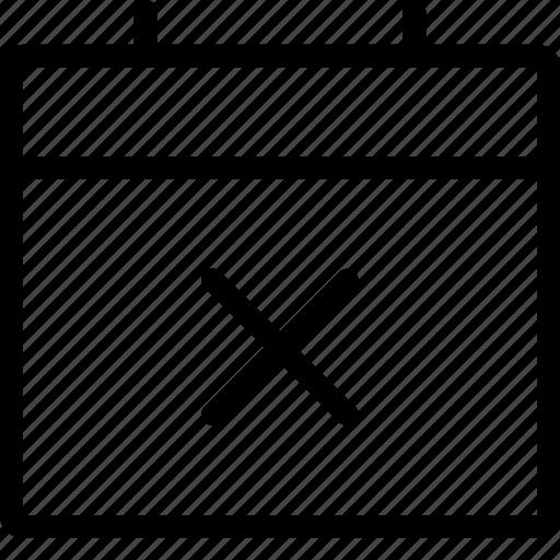 calendar, cancel, close, cross, event, plan, remove icon