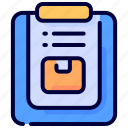box, delivery, item, items, list, order, package icon