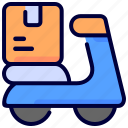 box, delivery, logistic, motorcycle, package, shipping, transport icon