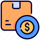 box, coin, delivery, dollar, goods, package, price