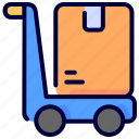 box, delivery, pack, package, shipping, shopping, trolley
