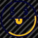 dollar, emoji, emoticon, happy, money, oriented, rich icon