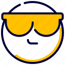 cool, emoji, emoticon, feelings, glases, smileys icon