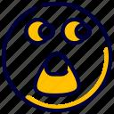 emoticon, feelings, people, shocked, smileys, surprised icon