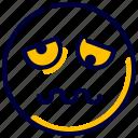 emoji, emoticon, feelings, smileys, tired icon