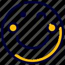 emoji, emoticon, feelings, smiley, wink icon