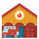 architecture, building, firemen, firestation, firetruck icon