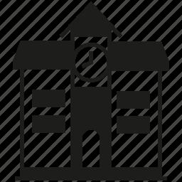 building, clock, school icon