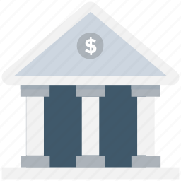bank, bank building, court, real estate, stock market icon