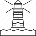 lighthouse, sea, beacon, coastline, navigation