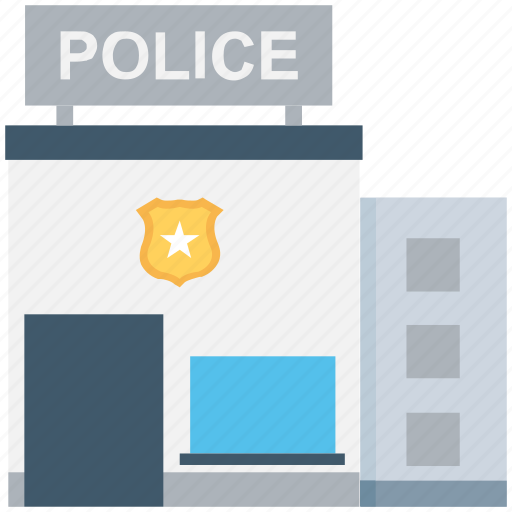 building, exterior, police department, police station, public safety center icon
