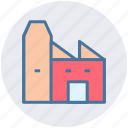 building, production unit, industry, power plant, factory, mill icon
