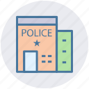 building, police department, public safety center, police station, exterior icon