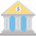 court, bank building, stock market, bank, real estate icon