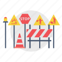 architect, barrier, board, building, construction, sign, stop icon