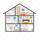 architect, building, construction, floor, house, room, view icon