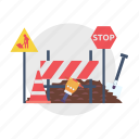 architect, barrier, board, building, construction, ground, stop icon