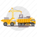 architect, big, block, building, construction, crane, truck icon