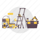 architect, bucket, building, construction, ladder, tool, toolbox icon
