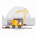 architect, building, city, construction, crane, mixing, truck icon