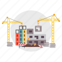 architect, block, building, construction, crane, ground, tower icon