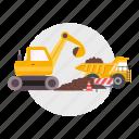 architect, barrier, building, construction, excavators, soil, truck icon