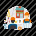 architect, blueprint, building, concept, construction, design, house icon