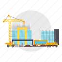 architect, barrier, building, coil, construction, crane, truck icon