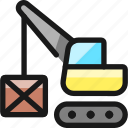 heavy, equipment, lift, hook, box