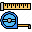 build, carpentry, measure, ruler, tailoring, tools icon