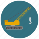 caterpillar, construction, crane, crawler crane, hook icon