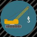 caterpillar, construction, crane, crawler crane, hook