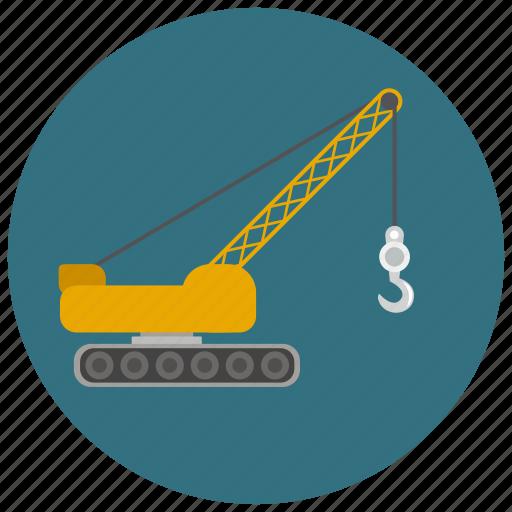 caterpillar, construction, crane, crawler crane, hook icon