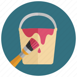 bucket, color, construction, decorating, paint, painting icon