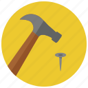construction, hammer, nail, tools