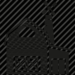building, facade, farmhouse, farmmill, home, house, town icon